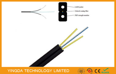 चीन FRP Glass Fiber Optic FTTH Drop Wire Cable G657A SM 2 Fibers GJXFH Black फैक्टरी