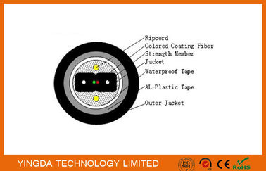 चीन Armored Bow Type Fiber Drop Cable FTTH Black PE Jacket Outdoor Duct Cable फैक्टरी
