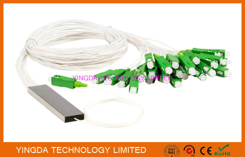 FTTH 1x32 Mini PLC Splitter Single mode Steel Tube LC APC Connectors आपूर्तिकर्ता